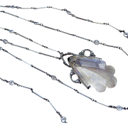"Art Deco Bezel Set Paste and Crystal Drop Necklace 42"" Flapper"