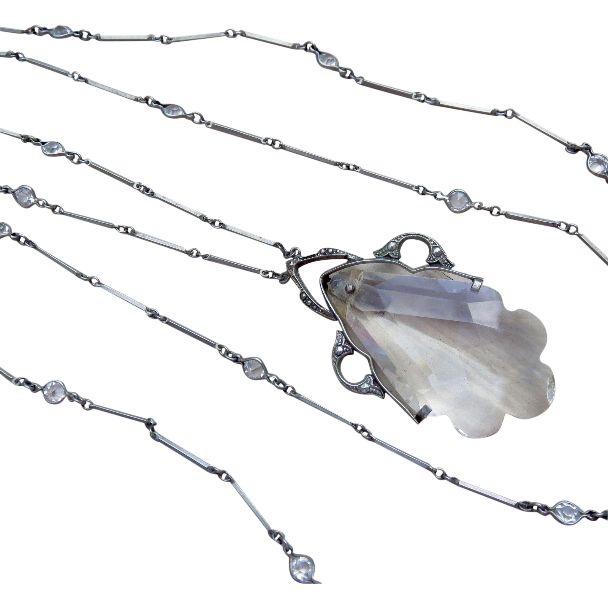 "Art Deco Bezel Set Paste and Crystal Drop Necklace 42"" Flapper"
