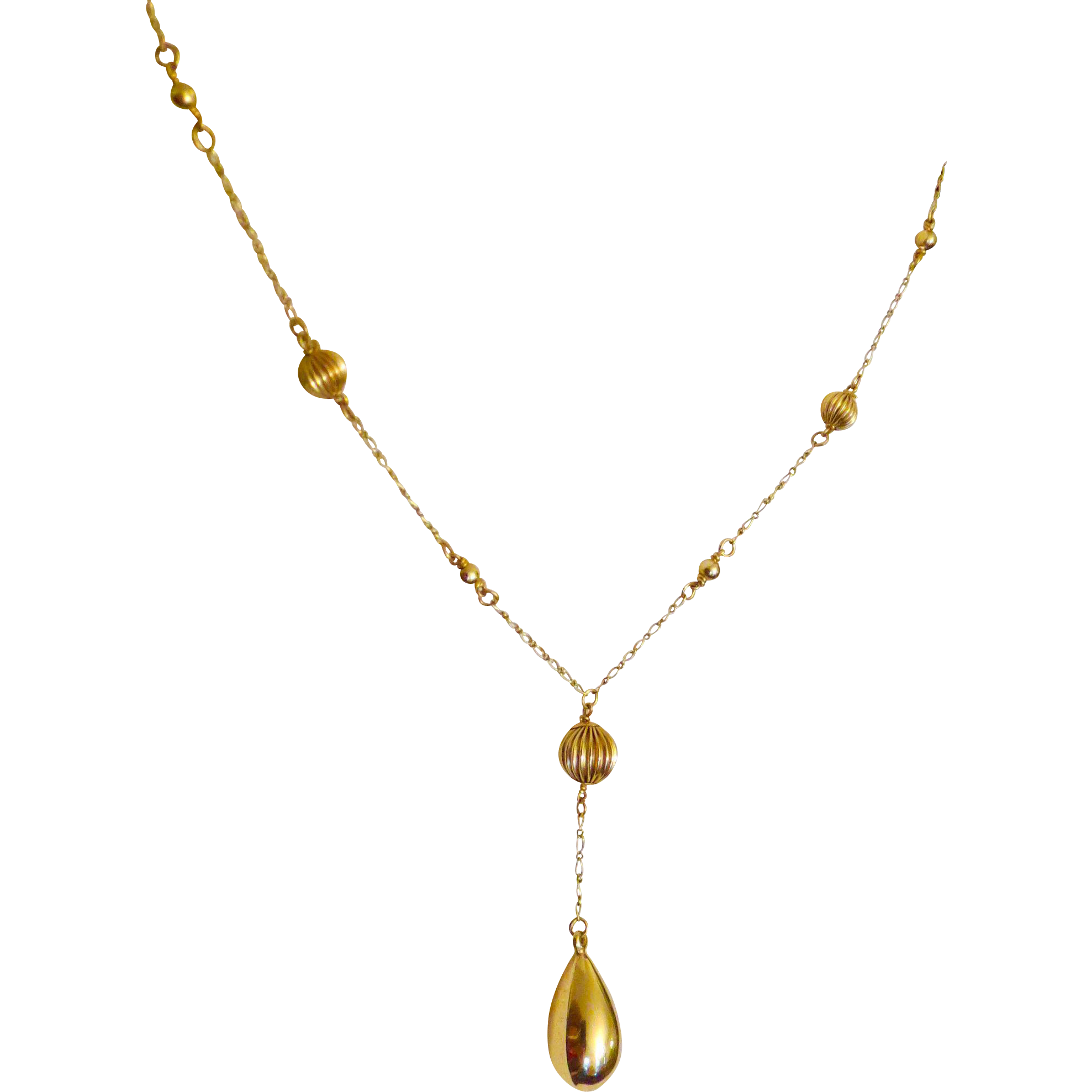 14k Gold Bead Drop Necklace