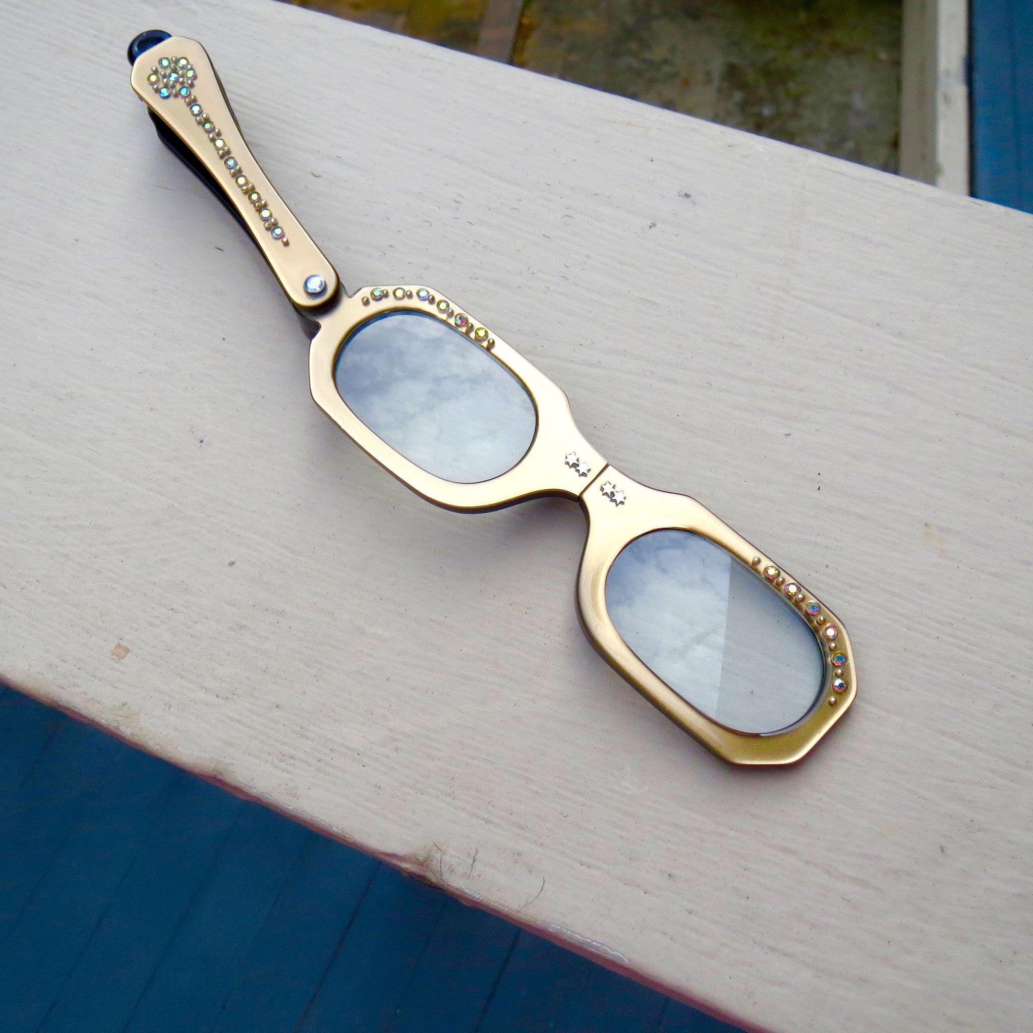 Vintage 50's Lucite Lorgnette Glasses With Aurora Borealis Rhinestones