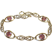 Fancy 40s Gold Filled Pink Crystal Station Bracelet - Signed 'STURDY 12KT Gold Filled'