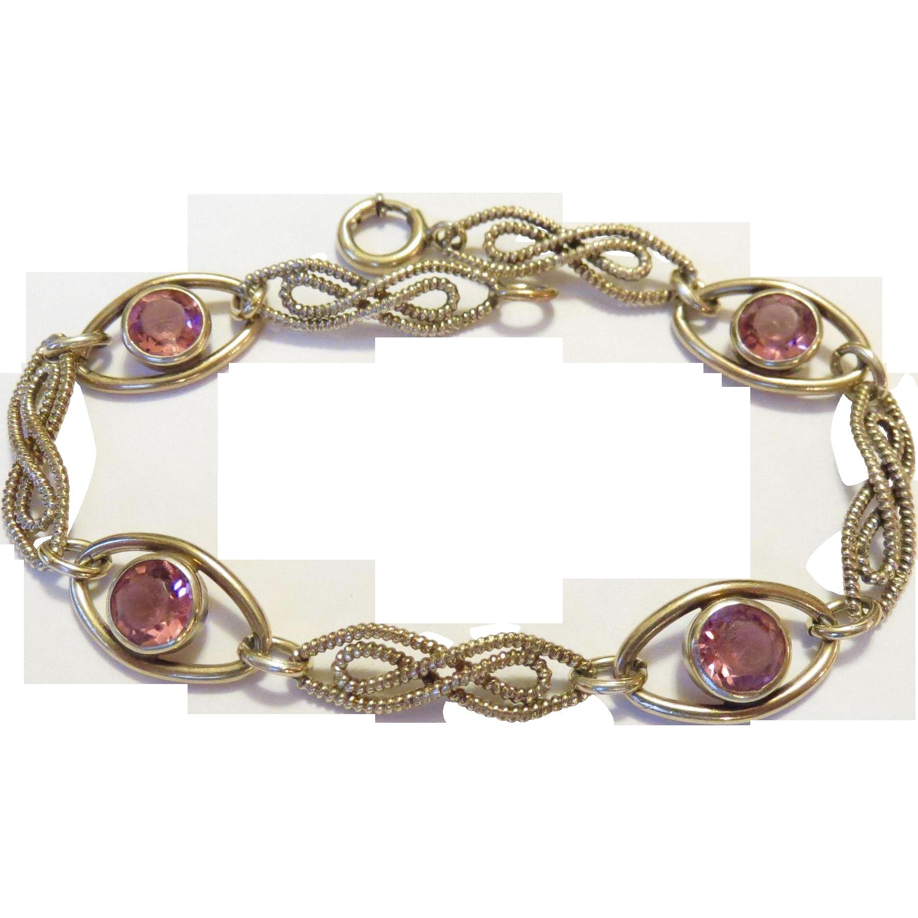 Fancy 40s Gold Filled Pink Crystal Station Bracelet - Signed 'STURDY 12KT Gold Filled'
