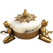 Rare Art Deco German Alabaster Gilded Filigree 3 Nudes Covered Dish - Egyptian Revival - Roaring 20s!