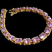 10k Gold Vintage 80s Pink Oval CZ Tennis Bracelet