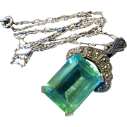 Antique Sterling Marcasite and Aqua Paste Necklace