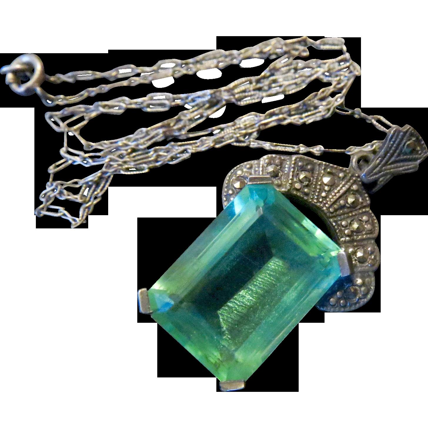 Art Nouveau Marcasite and Aqua Paste Necklace
