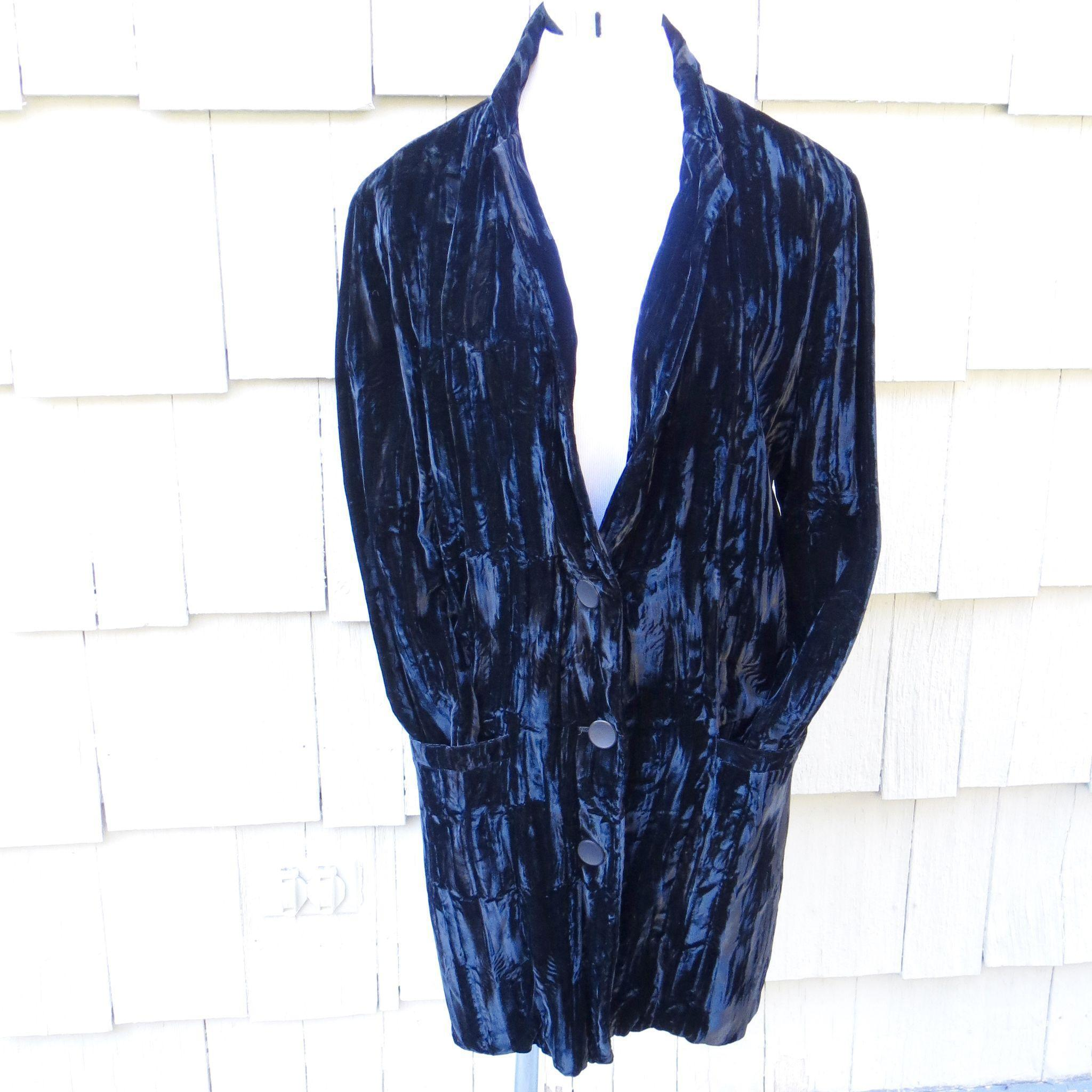 Vintage 80s Rare Betsy Johnson Punk label Black Crushed Velvet Jacket Blazer