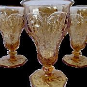 McKee Rock Crystal Amber Depression Glasses - Lot of 6 - HTF Color
