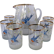 Antique Bohemian Blue Bird Pitcher and 6 Matching Glasses - Pitcher Set