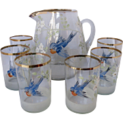 Antique Blue Bird Pitcher and 6 Matching Glasses