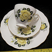 Gainsborough English Bone China Yellow Rose Tea Set - Cup Saucer and Desert Plate