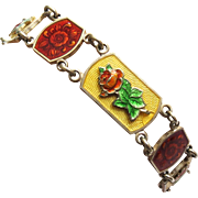Art Nouveau Sterling English Enamel Guilloche Bracelet