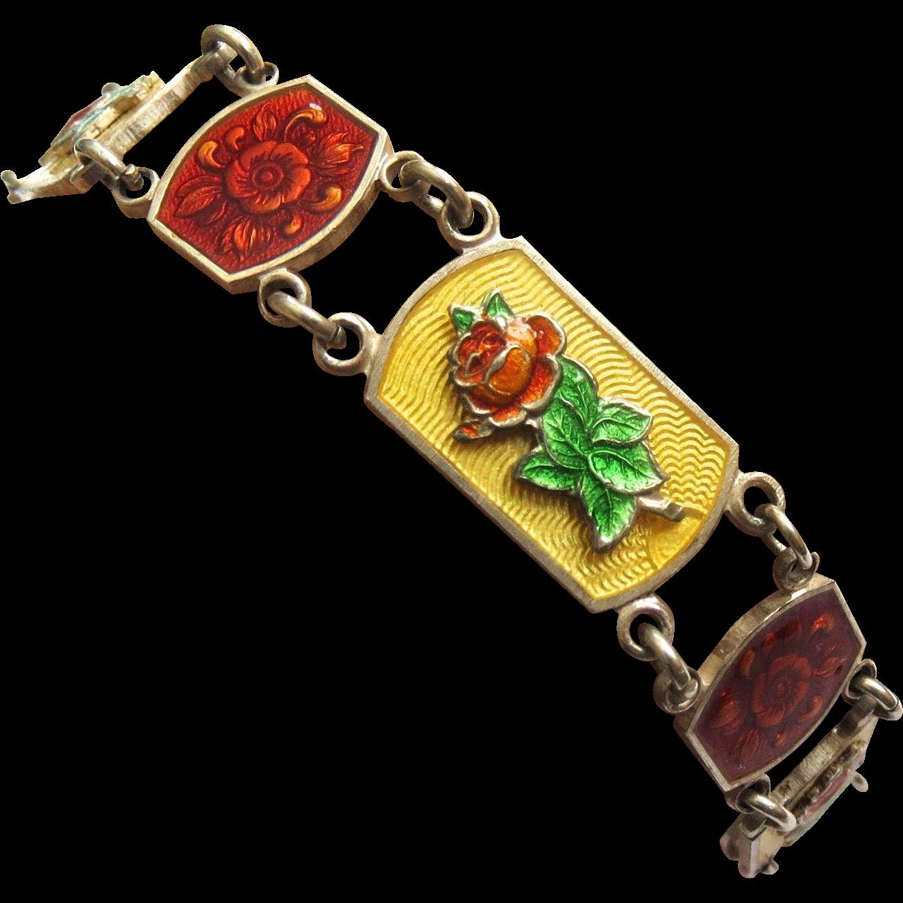 Art Nouveau Sterling English Enamel Guilloche Bracelet
