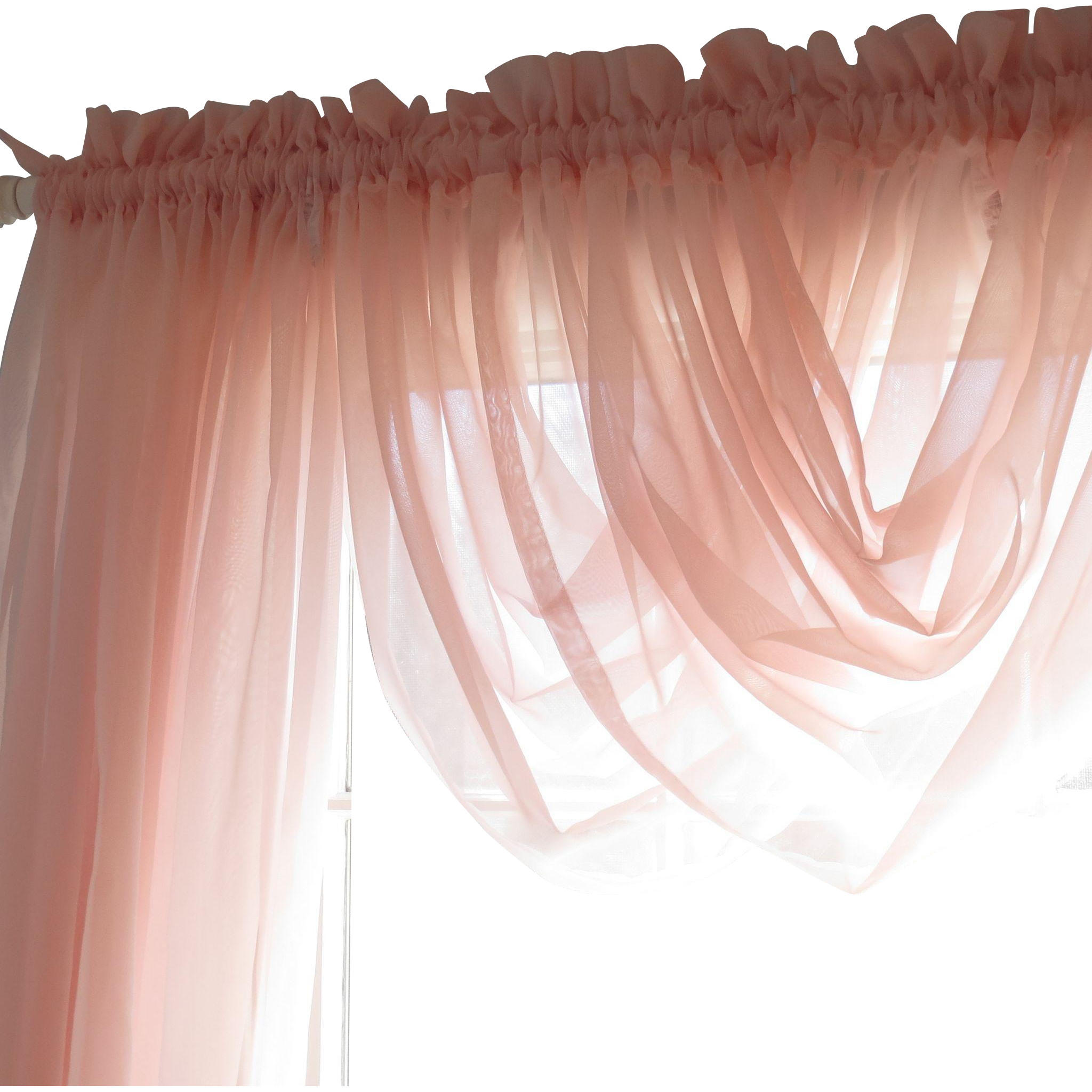 Beautiful Tea Rose Vintage Shabby Chic JCPENNEY Sheer
