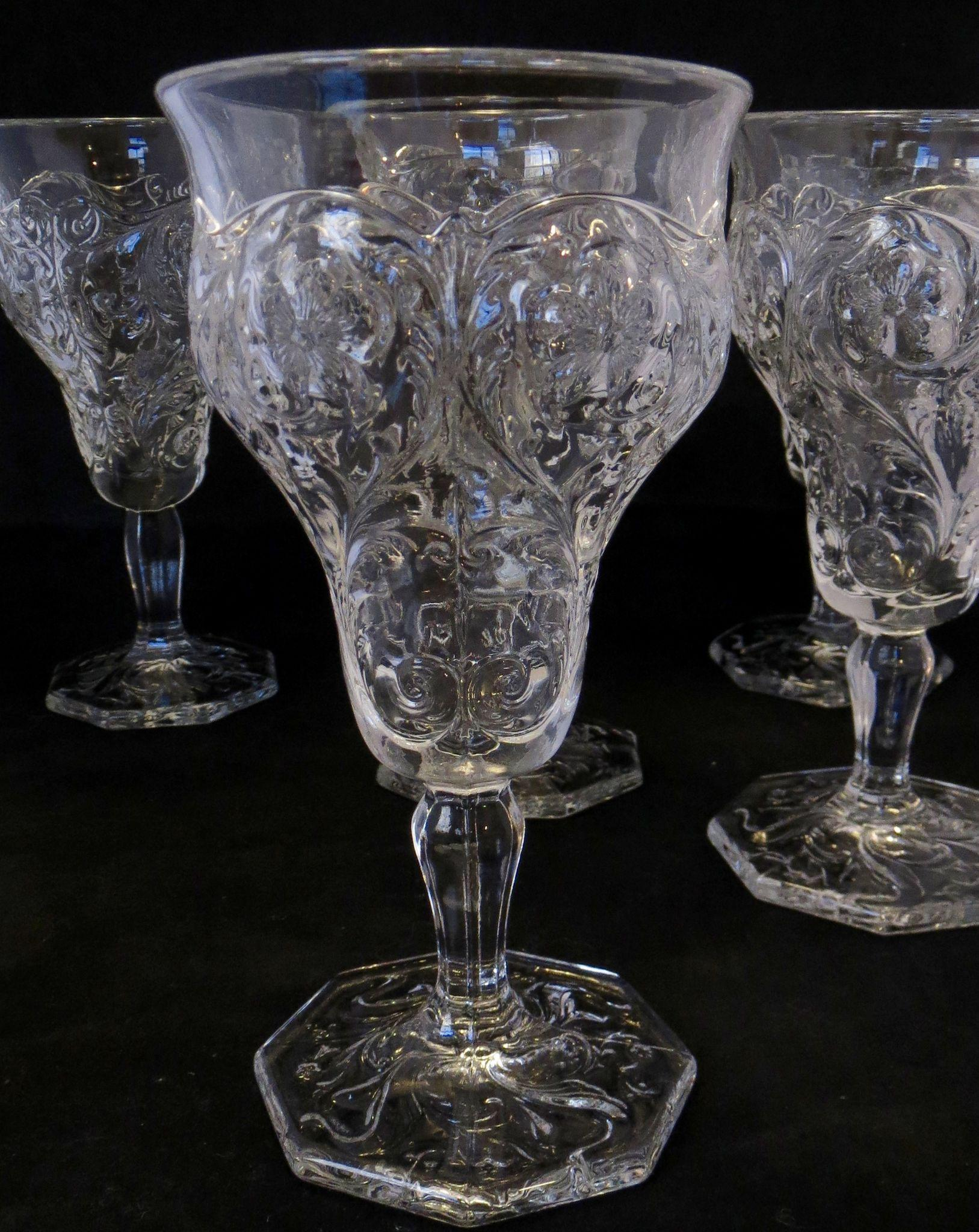 McKee Rock Crystal Tall Stem Goblet or Wine - Set of 5