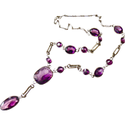Art Nouveau Czech Open Back Amethyst Glass or Paste Necklace - Big and Chunky - Decorative links!