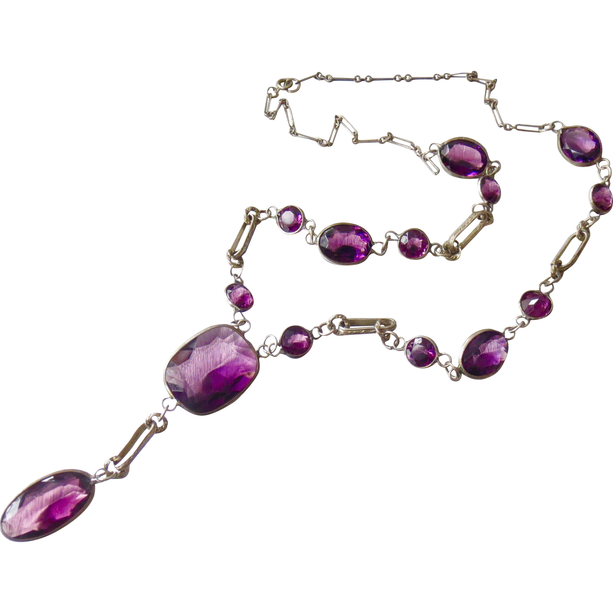 Rare Art Nouveau Czech Open Back Amethyst Glass or Paste Necklace - Big and Chunky - Decorative links!