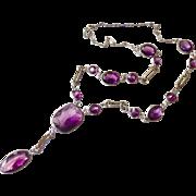 Art Nouveau Czech Open Back Amethyst Glass or Paste Necklace - Big and Chunky - Decorative links!