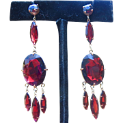Czech Pidgeon Blood RED Garnet Paste Long Earrings