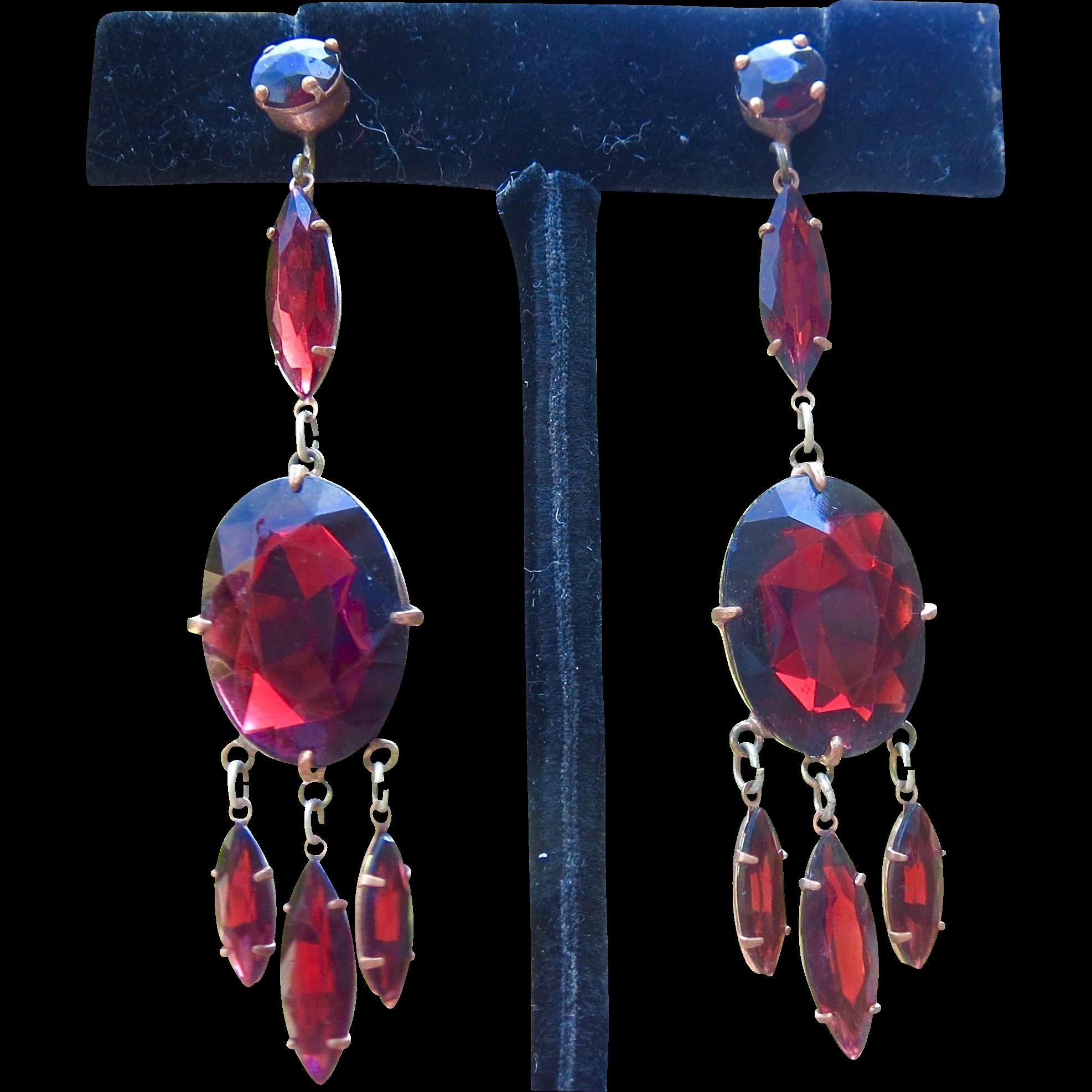 Czech Pidgeon Blood RED Garnet Paste Long Earrings