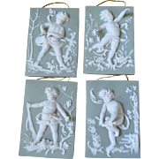 Set of 4 Green Jasper ware Cherub Plaques - Representing the Four Seasons