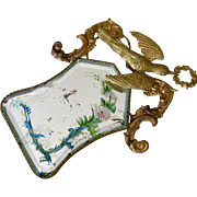 Antique French Ormolu Fragment of a Wedding Bride Keepsake - Swallow Wreath - Hand Painted Mirror
