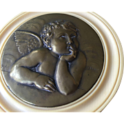 Antique French Bronze and Celluloid Pensive Cherub Plaque - Signed
