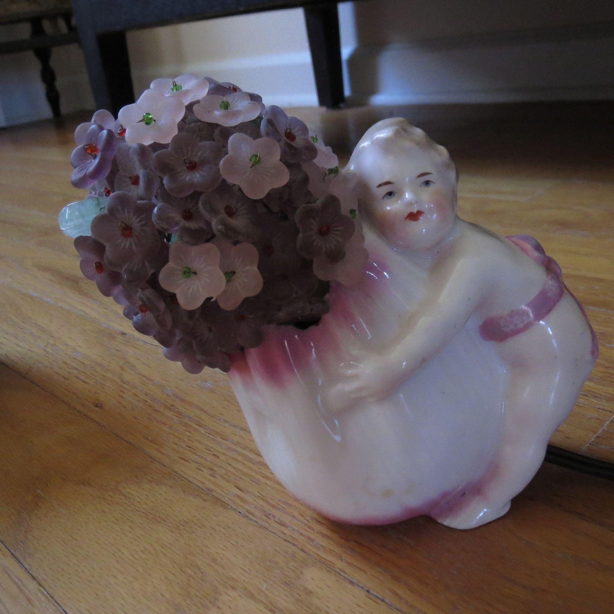 Unusual Antique Heubach (signed) Cherub Night Light with Glass Floral Shade