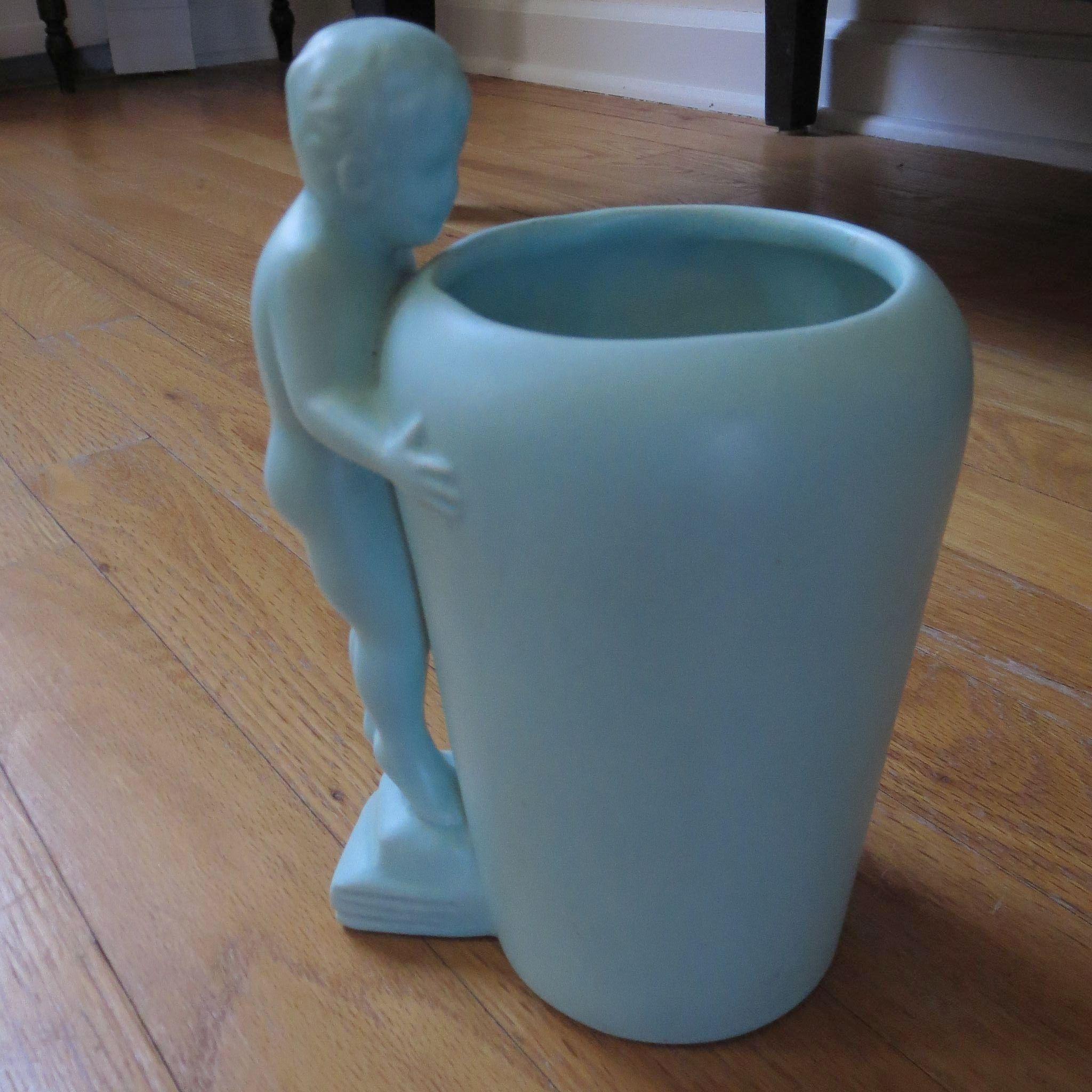 Haeger Aqua Pottery Vase - Cherub Nude Peeking Over Top