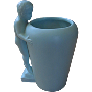 Haeger Aqua Pottery Vase - Cherub Nude Peeking Over Top