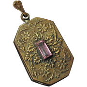 Art Nouveau Czech Large Brass Repousse Locket with Pink Glass Stone