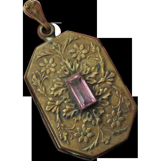 Art Nouveau Czech Large Brass Repousse Locket with Pink Glass Stone
