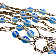 Long Gold Filled Fancy Paper Clip Link Chain with Pretty Opalescent Art Glass Bead Stations 56""