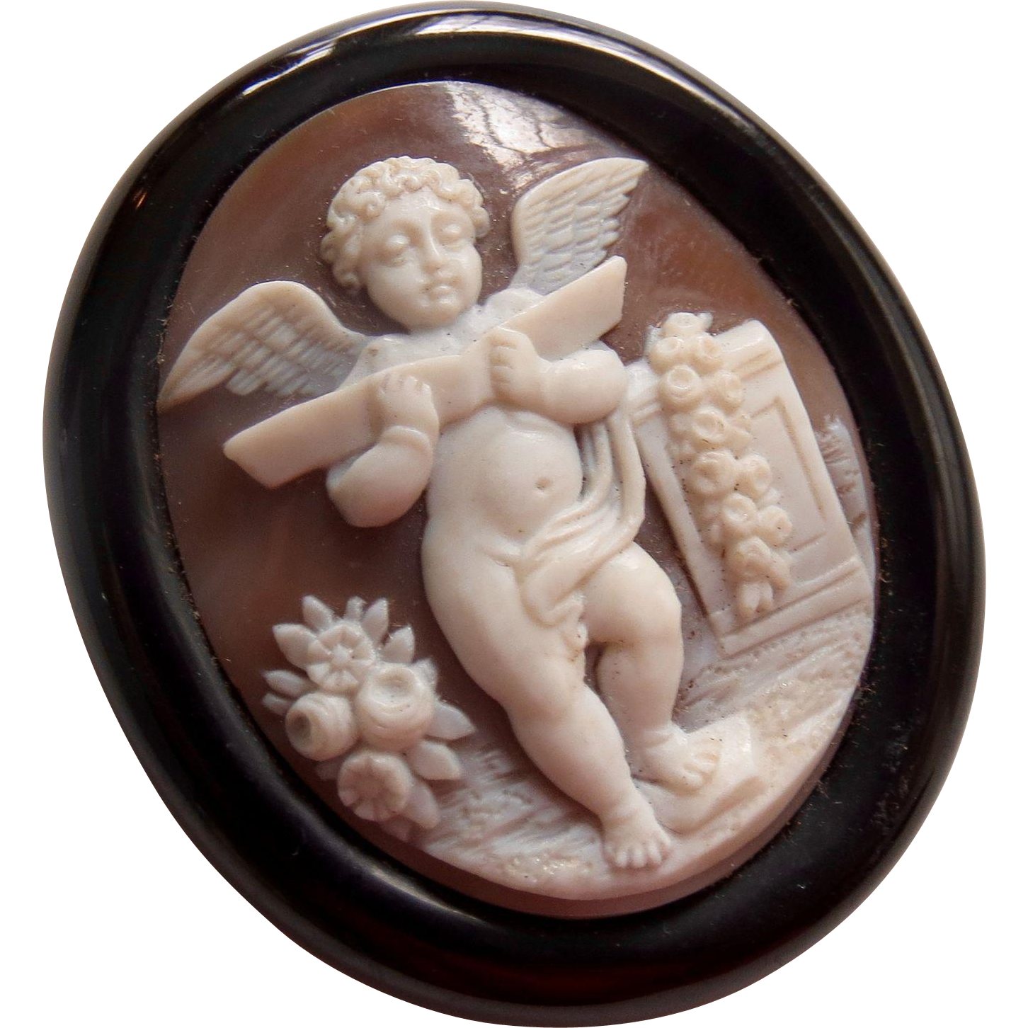 Antique Large Exquisite Victorian Mourning Cherub Cameo