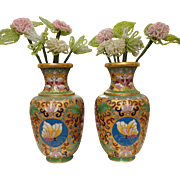 Pr. Chinese Export Butterfly and Floral Cloisonné Brass Vases with beaded flowers