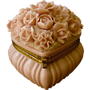 Pretty Pink Porcelain Floral Heart Box with Applied Florals - Elfinware style!