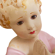 Beautiful Hand Painted Terra Cotta Portuguese Baby Girl Santos with Glass Eyes - Church Relic!