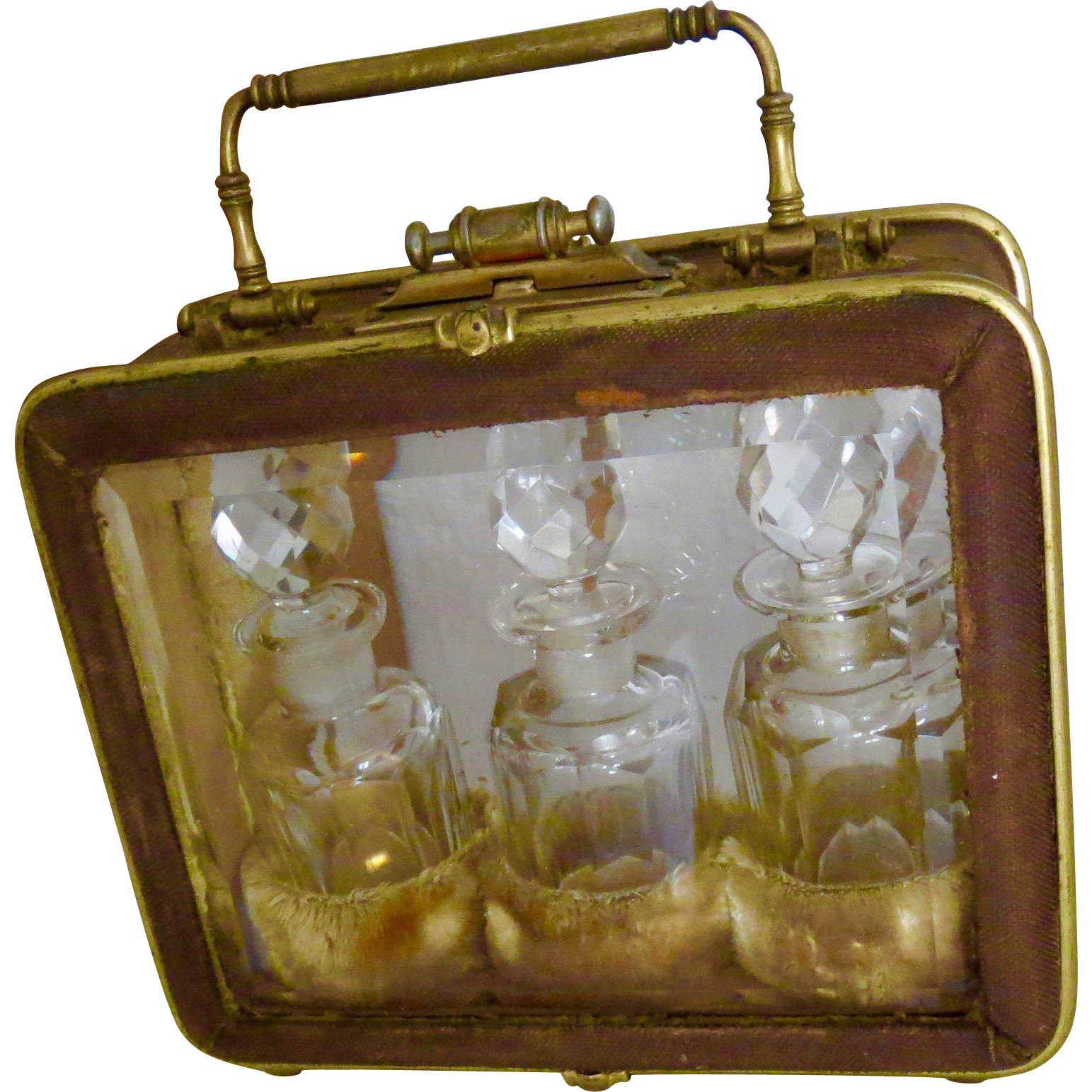 Rare Antique Perfume Casket with 3 Hand-cut Crystal Perfume Bottles