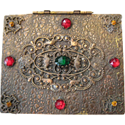 Czech Jeweled Brass Wood Lined Pansy Embossed Box