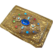Art Nouveau Czech Brass and Jewels Calling Card Holder