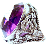 Art Nouveau Snake, Griffith and Amethyst Cushion Cut Paste and Sterling Silver Ring