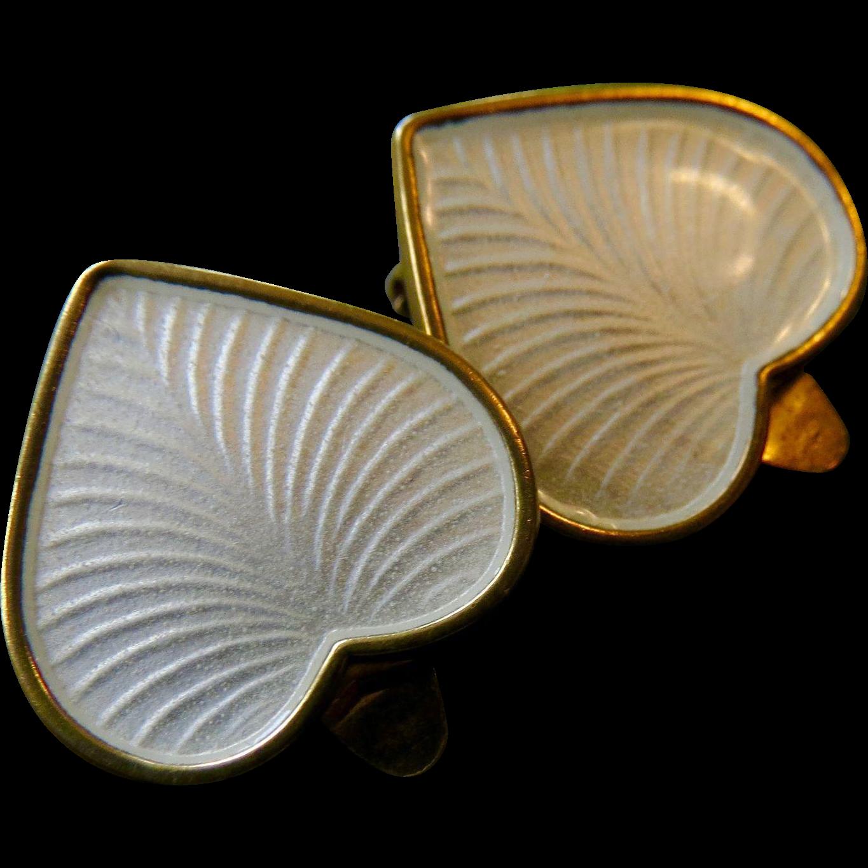 VB Volmer Bahner Denmark Sterling Vermeil Enamel Heart Earrings