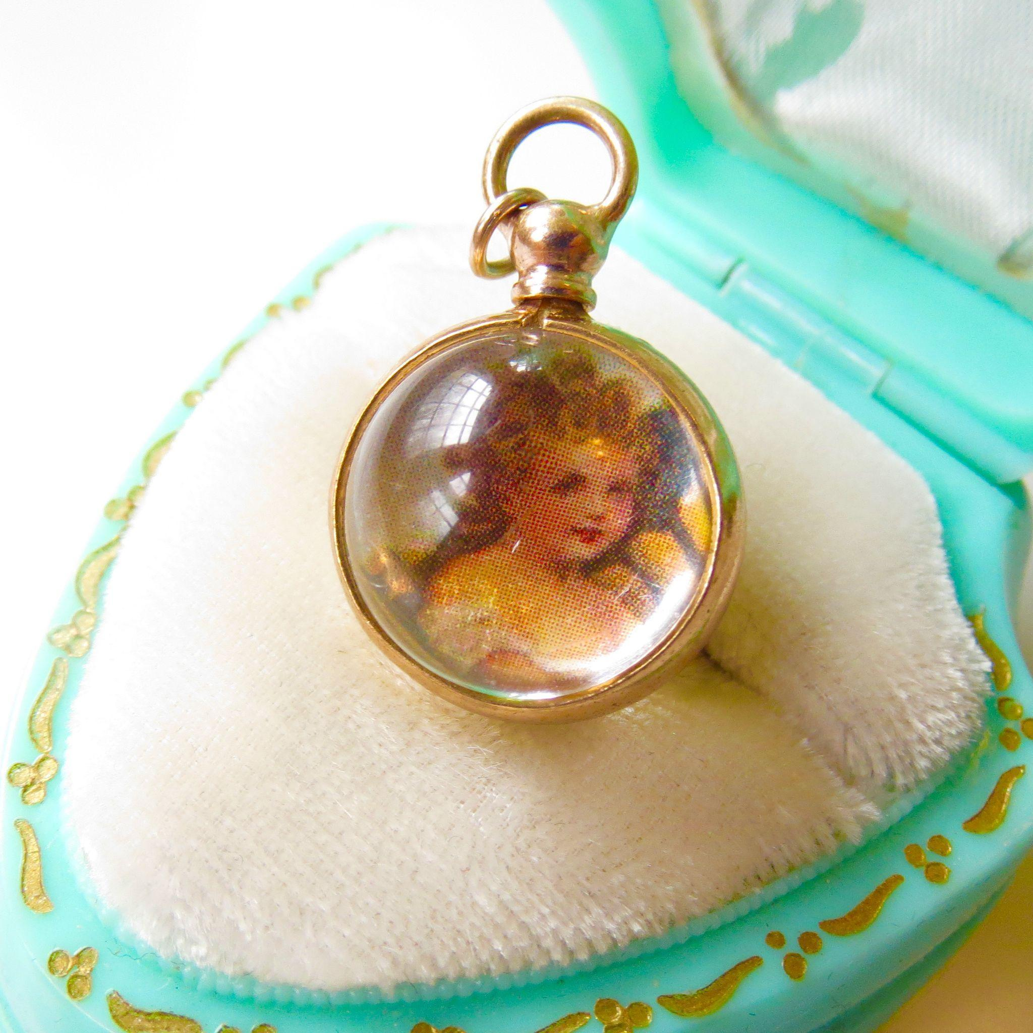 1940s Lucite Ball Orb Magnifying Memento Locket Charm