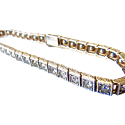Sterling Chased Art Deco Paste Tennis Bracelet - All Original! - Patented