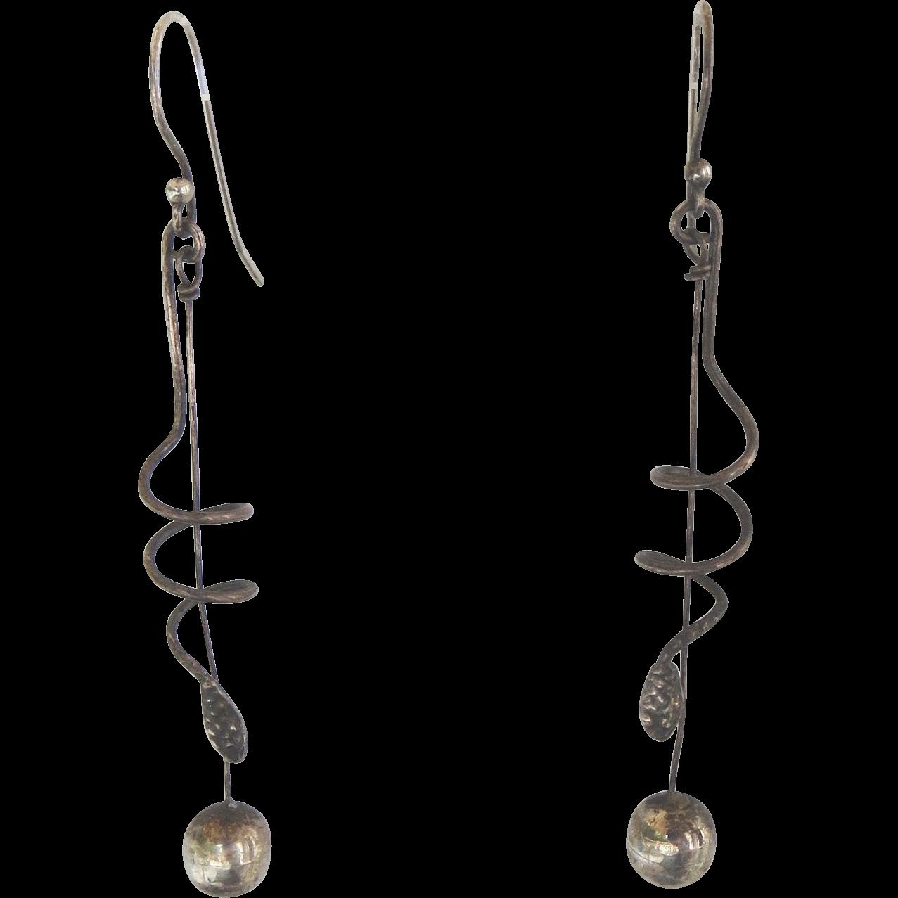 Vintage Sterling Snake Earrings