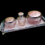 Art Deco Pink Enamel Guilloche English Dresser Set