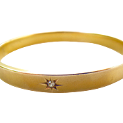 10K Gold Oval Matte Florentine Bangle with Diamond Star Accent