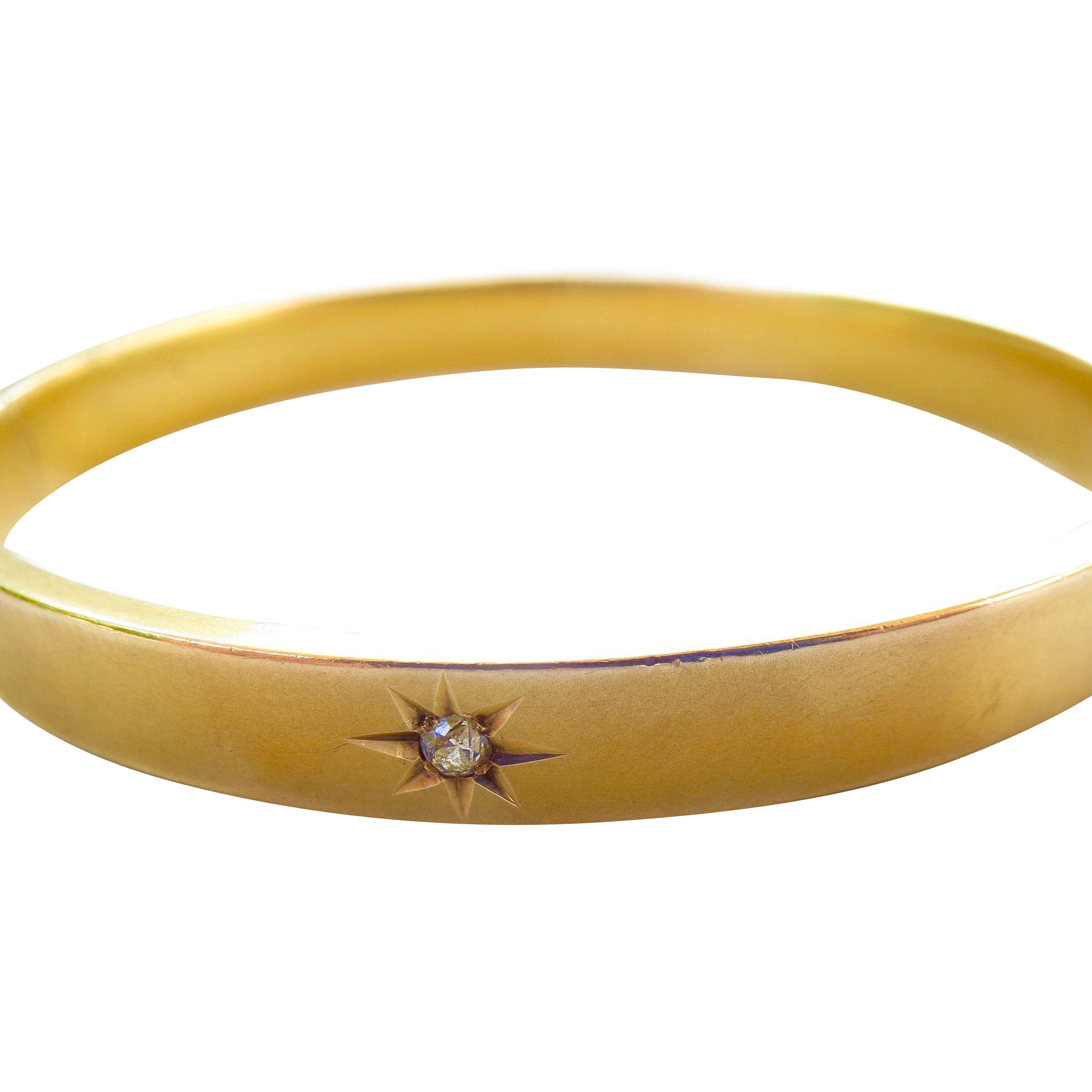 10K Gold Classic Diamond Florentine Bangle