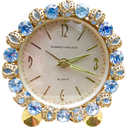 Baby Blue Rhinestone Phinney-Walker German Alarm Clock - Working!
