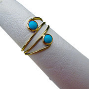 14k Gold Mid-Century Hand Made Persian Evil Eye Turquoise Ring